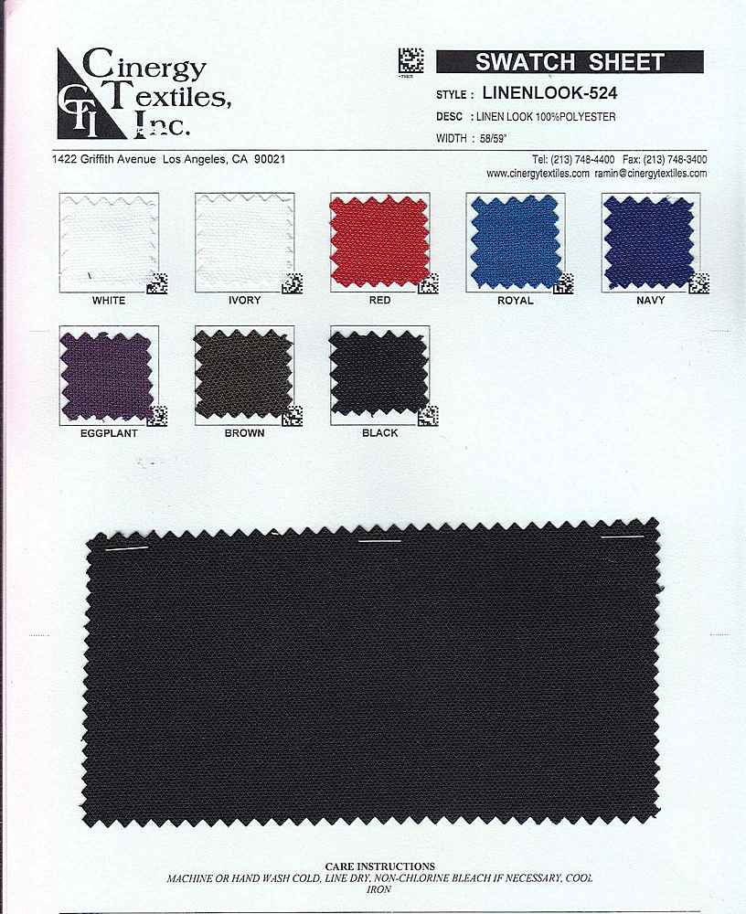 <h2>LINENLOOK-524</h2> / FAMILY          / Woven Linen Look 100%Polyester