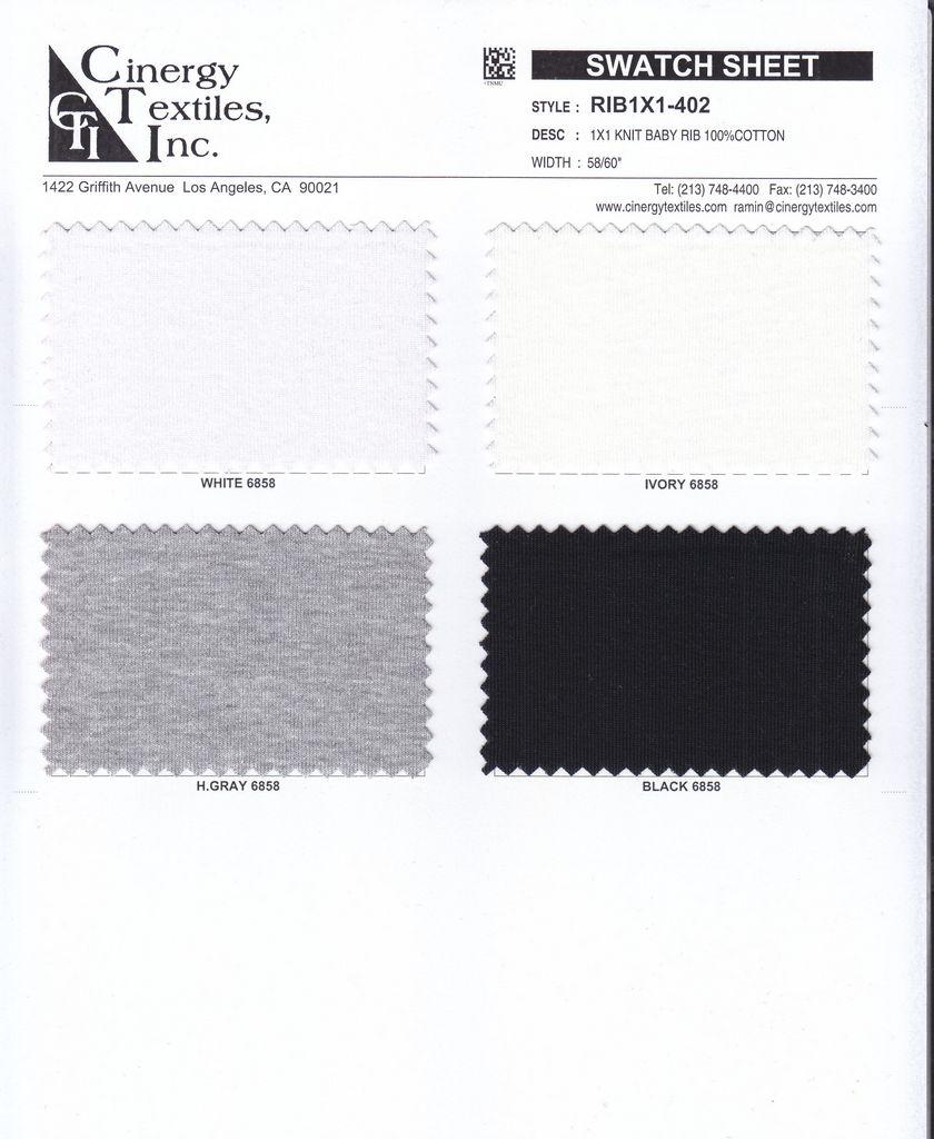 RIB1X1-402 / 1x1 Knit Baby Rib 100%Cotton