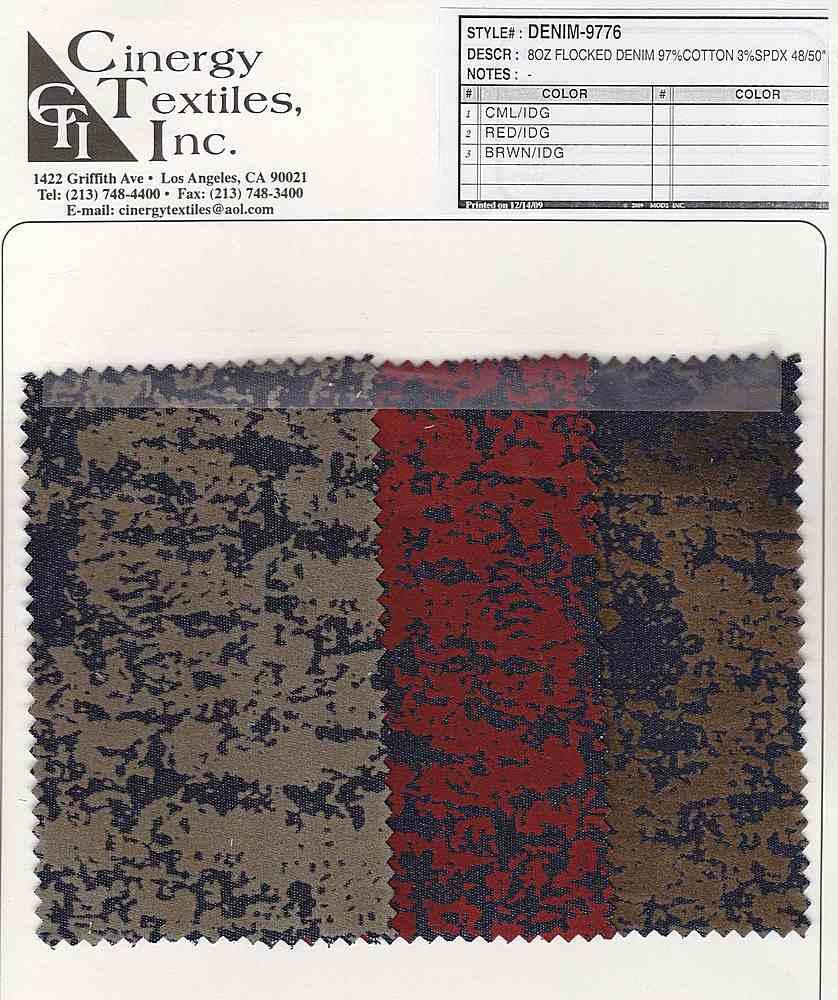 DENIM-9776 / Flocked Denim 97%Cotton 3%Spandex