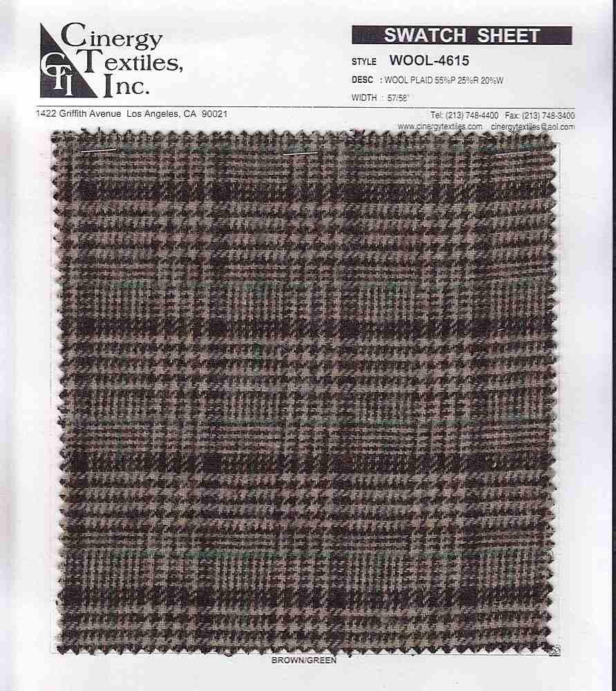 <h2>WOOL-4615</h2> / FAMILY          / Wool Plaid 55%P 25%R 20%W