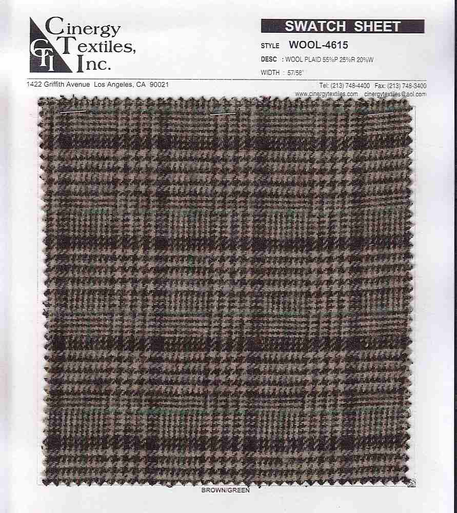 <h2>WOOL-4615</h2> / FAMILY          / Wool Plaid 55%P 25%R 20%W