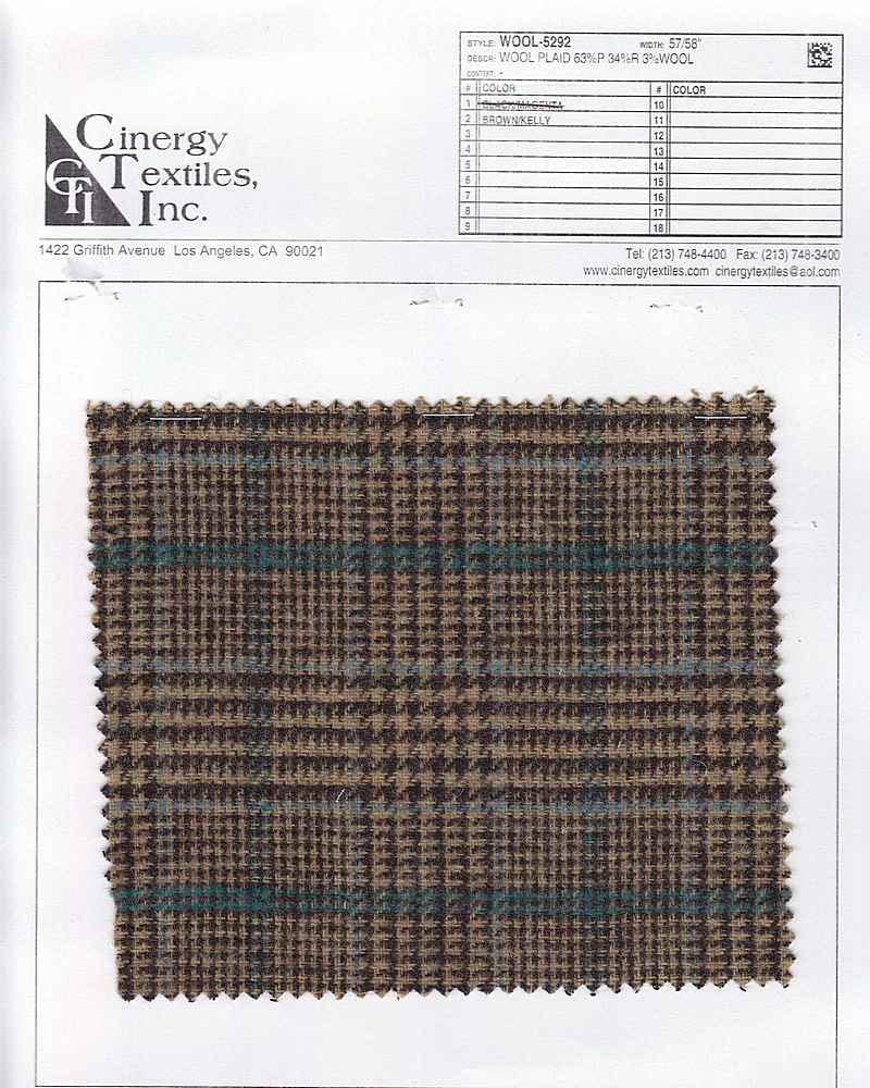 <h2>WOOL-5292</h2> / FAMILY          / Wool Plaid 63%P 34%R 3%Wool