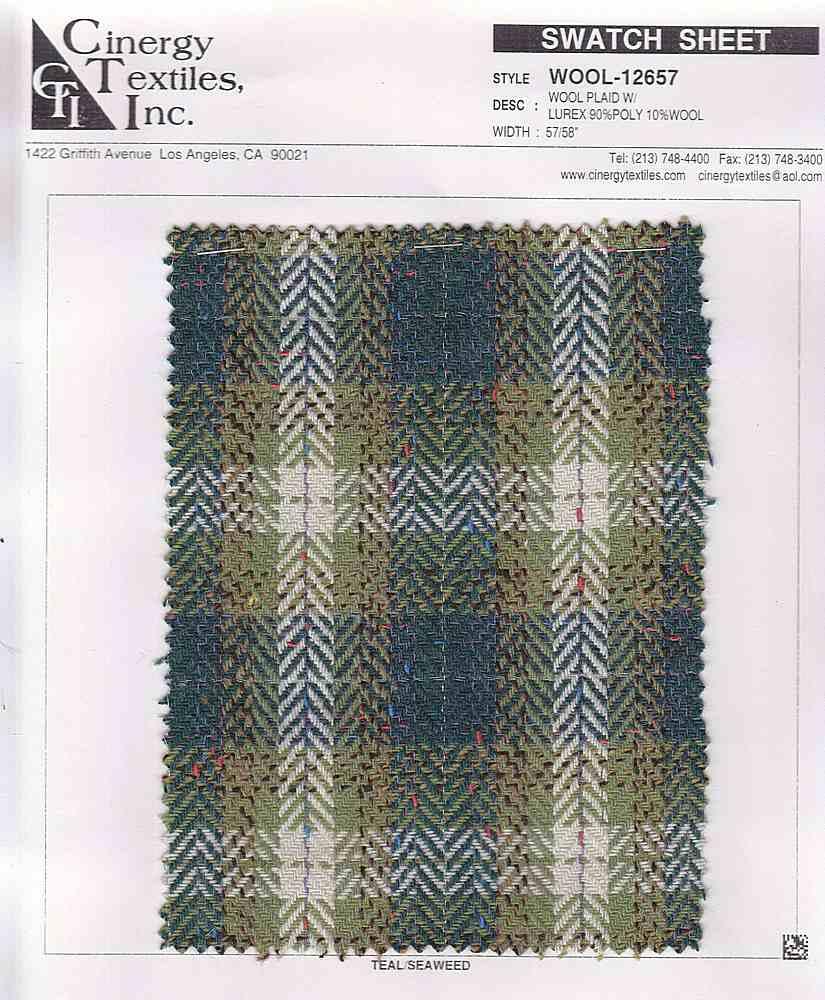 <h2>WOOL-12657</h2> / FAMILY          / Wool Plaid W/Lurex 90%Poly 10%Wool