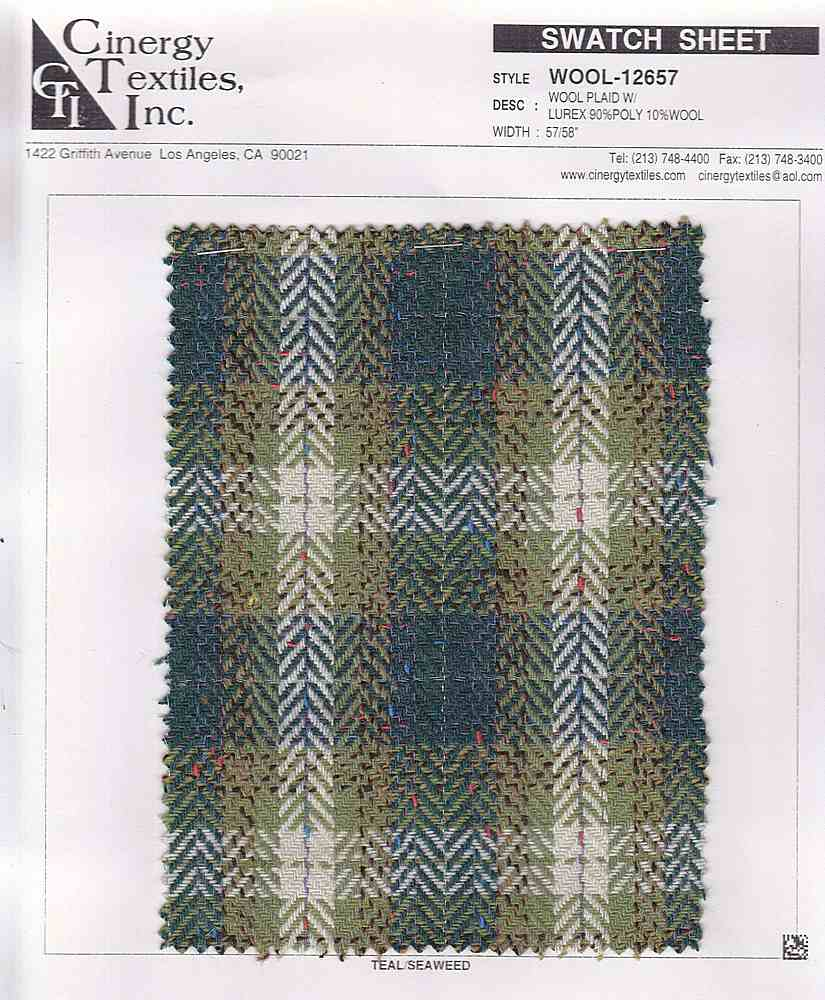<h2>WOOL-12657</h2> / FAMILY          / Wool Plaid W/Lurex 90%Poly 10%Wool