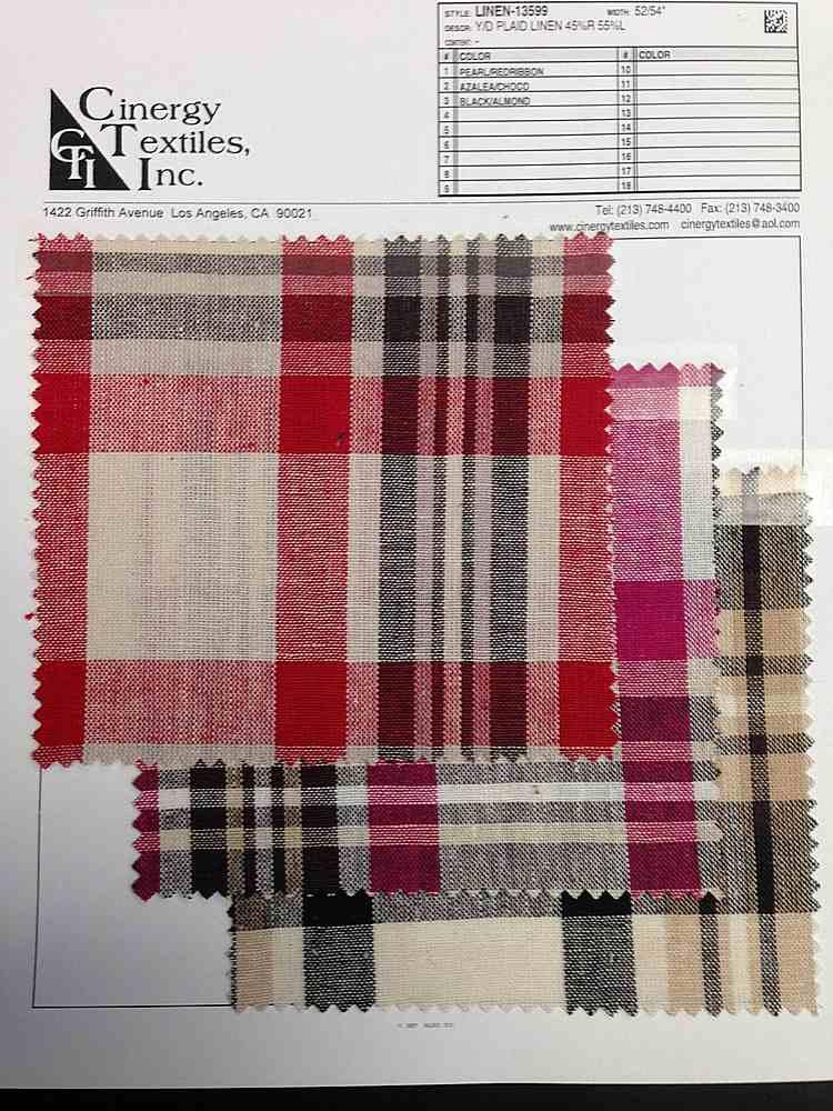 LINEN-13599 / Plaid Linen 45%Rayon 55%Linen