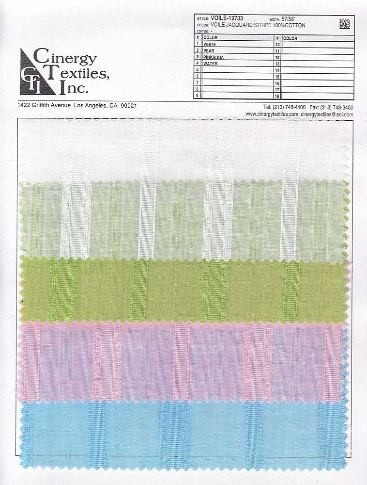 <h2>VOILE-12733</h2> / FAMILY          / Voile Jacquard Stripe 100%Cotton