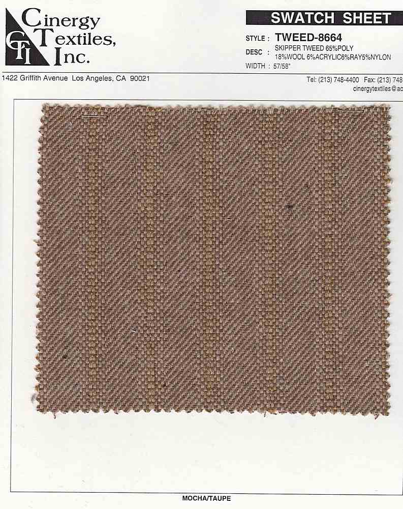 <h2>TWEED-8664</h2> / FAMILY          / Skipper Tweed 65%Poly 18%Wool 6%Acrylic6%Ray5%Nylon