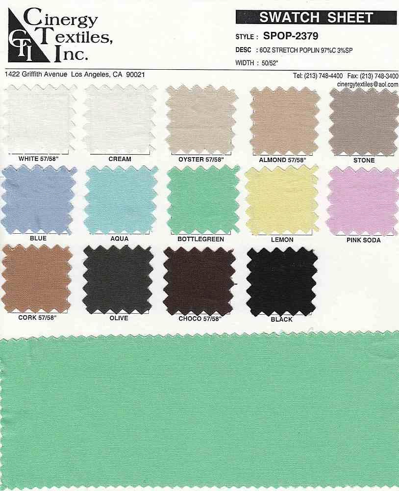 SPOP-2379 / 6oz Stretch Poplin 97%Cotton 3%Spandex