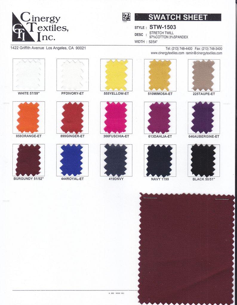 STW-1503 / Stretch Twill 97%Cotton 3%Spandex
