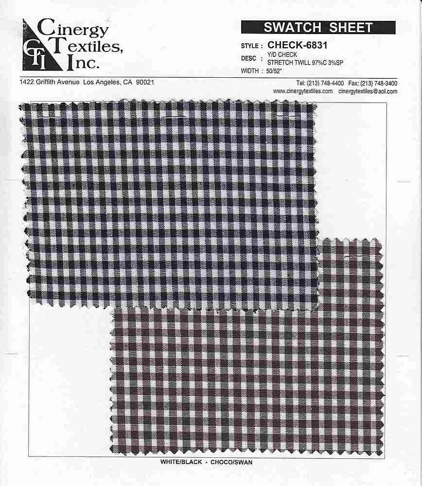 CHECK-6831 / Woven Stretch Twill 97%Cotton 3%Spandex