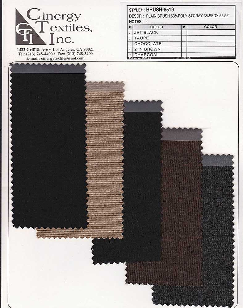 <h2>BRUSH-8519</h2> / FAMILY          / Woven Plain Brush Suiting 63%Poly 34%Rayon 3%Span