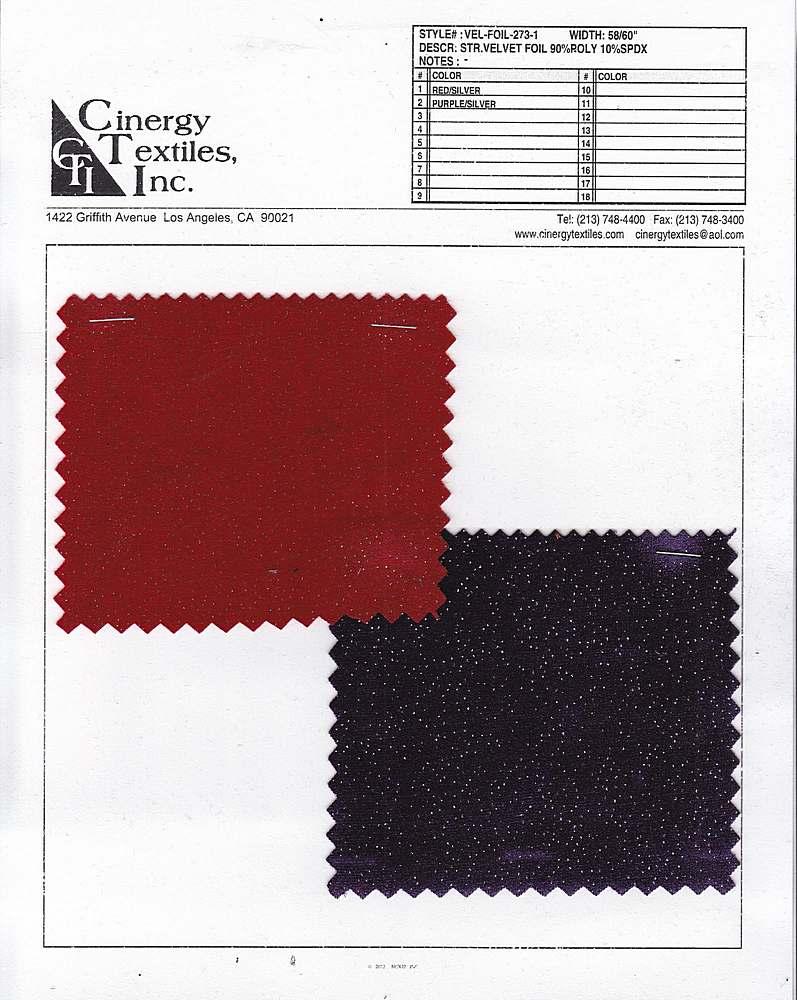 <h2>VEL-FOIL-273-1</h2> / FAMILY          / Knit Stretch Velvet W/Foil 90%Poly 10%Spandex