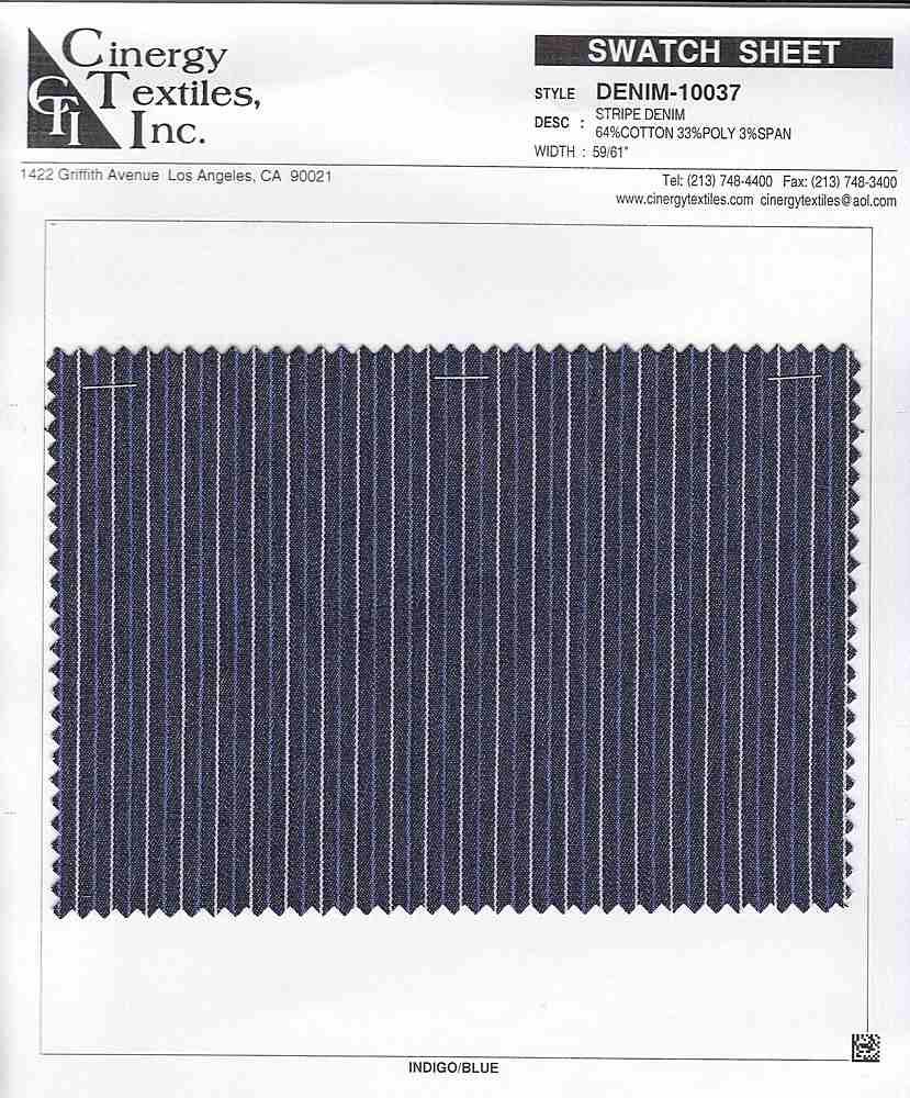 DENIM-10037 / Stripe Denim 64%Cotton 33%Poly 3%Span