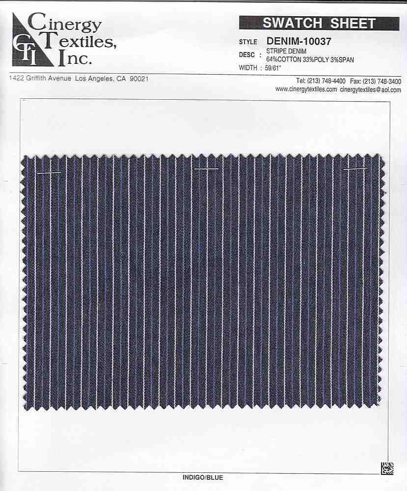 <h2>DENIM-10037</h2> / FAMILY          / Stripe Denim  64%Cotton 33%Poly 3%Span