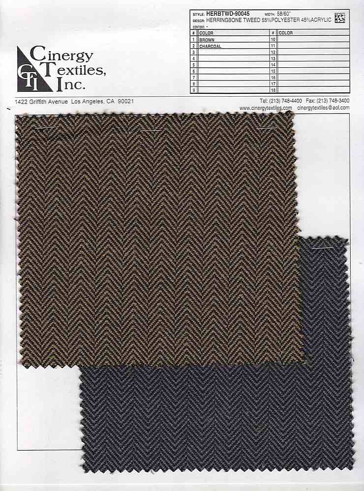 <h2>HERBTWD-90045</h2> / FAMILY          / Herringbone Tweed 55%Polyester 45%Acrylic