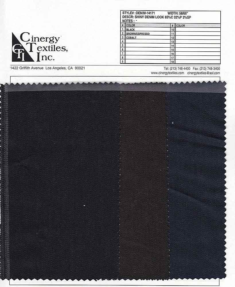 DENIM-14171 / Shiny Denim Look 65%Cotton 32%Poly 3%Spandex