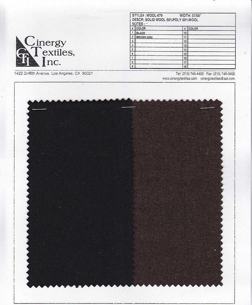 WOOL-679 / Solid Wool 50%Poly 50%Wool