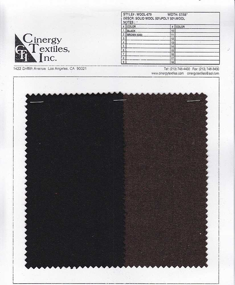 WOOL-679 / Solid Wool 50%Poly 50%Wool