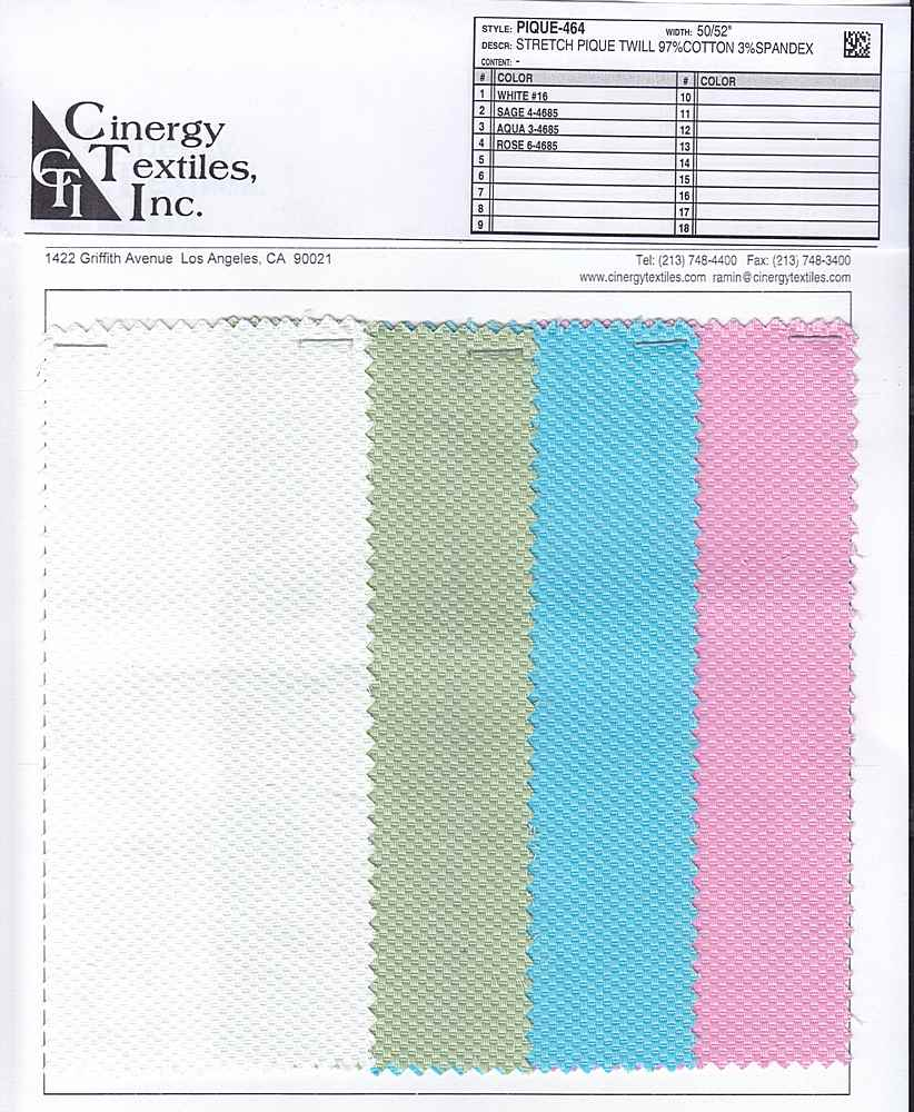 PIQUE-464 / Stretch Pique 97%Cotton 3%Spandex