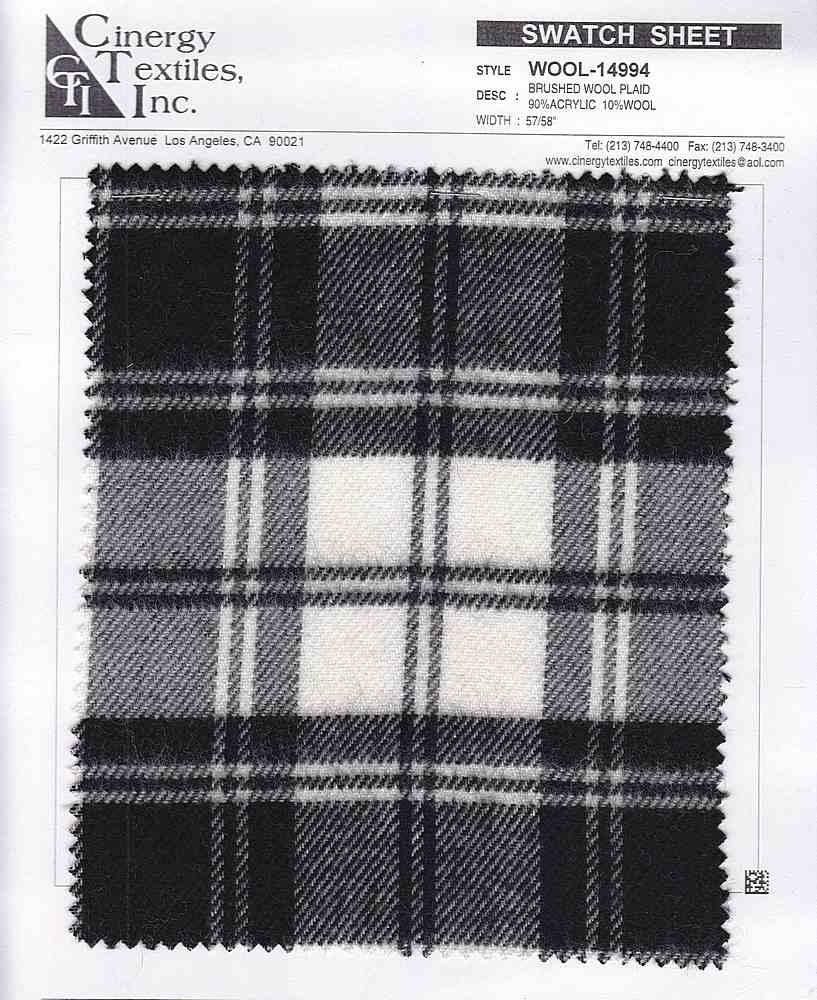 WOOL-14994 / BRUSHED WOOL PLAID 90%ACRYLIC 10%WOOL