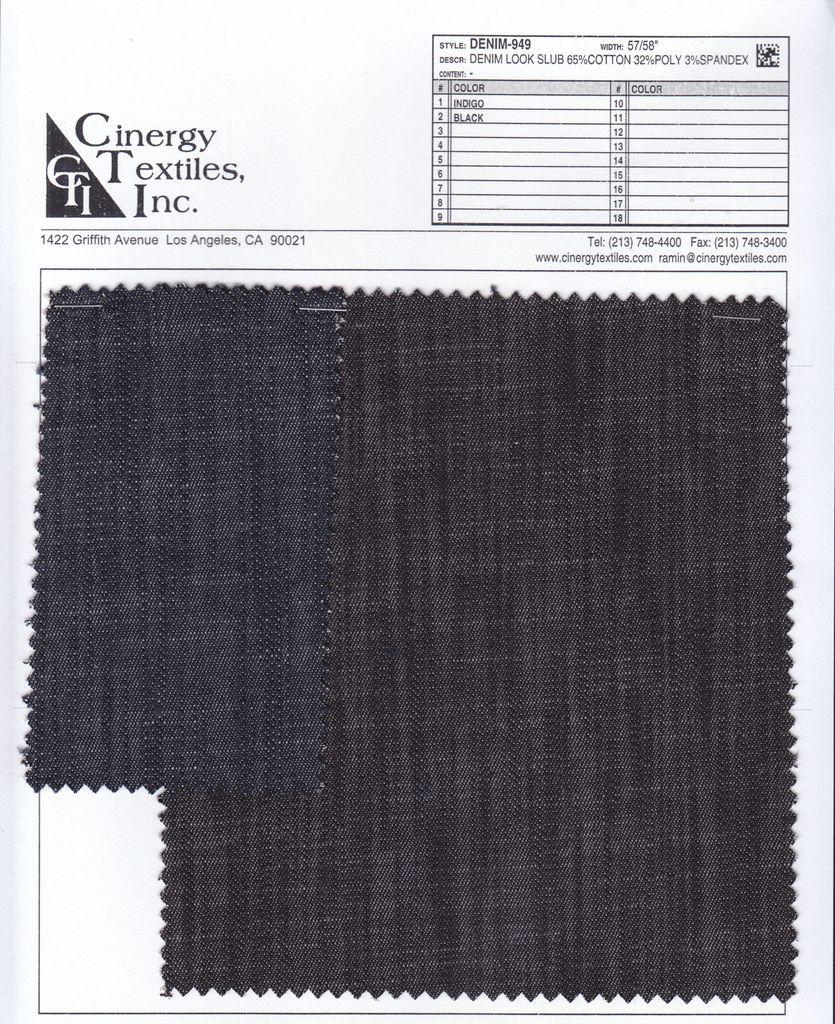 DENIM-949 / Denim Look Slub 65%Cotton 32%Poly 3%Spandex