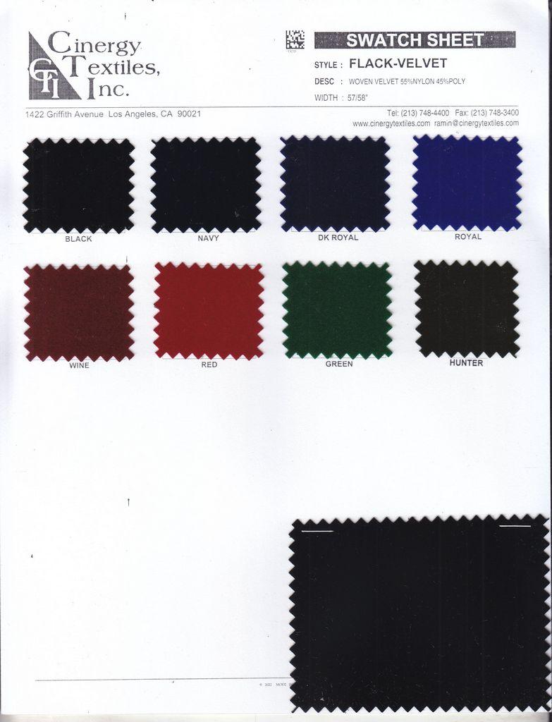 <h2>FLACK-VELVET</h2> / FAMILY          / Woven Velvet 55%Nylon 45%Polyester