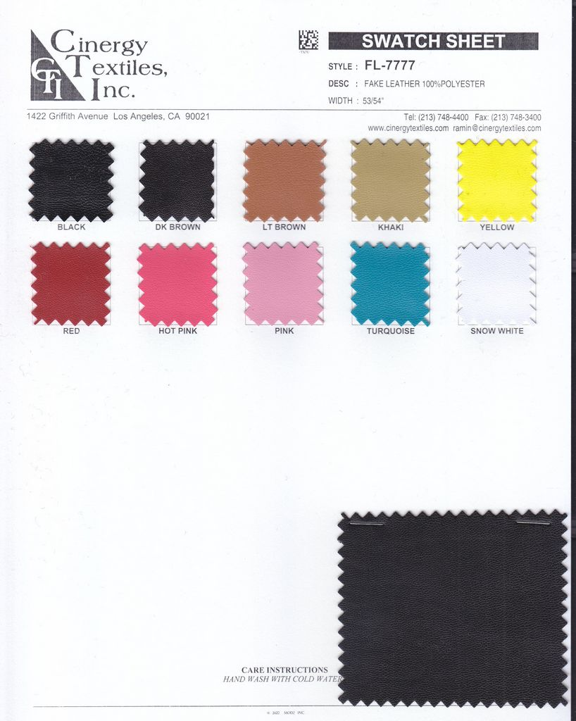 <h2>FL-7777</h2> / FAMILY          / Fake Leather 100%Polyester