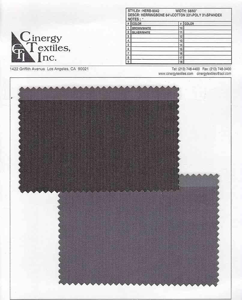 <h2>HERB-9042</h2> / FAMILY          / Herringbone Twill 64%Cotton 33%Poly 3%Spandex