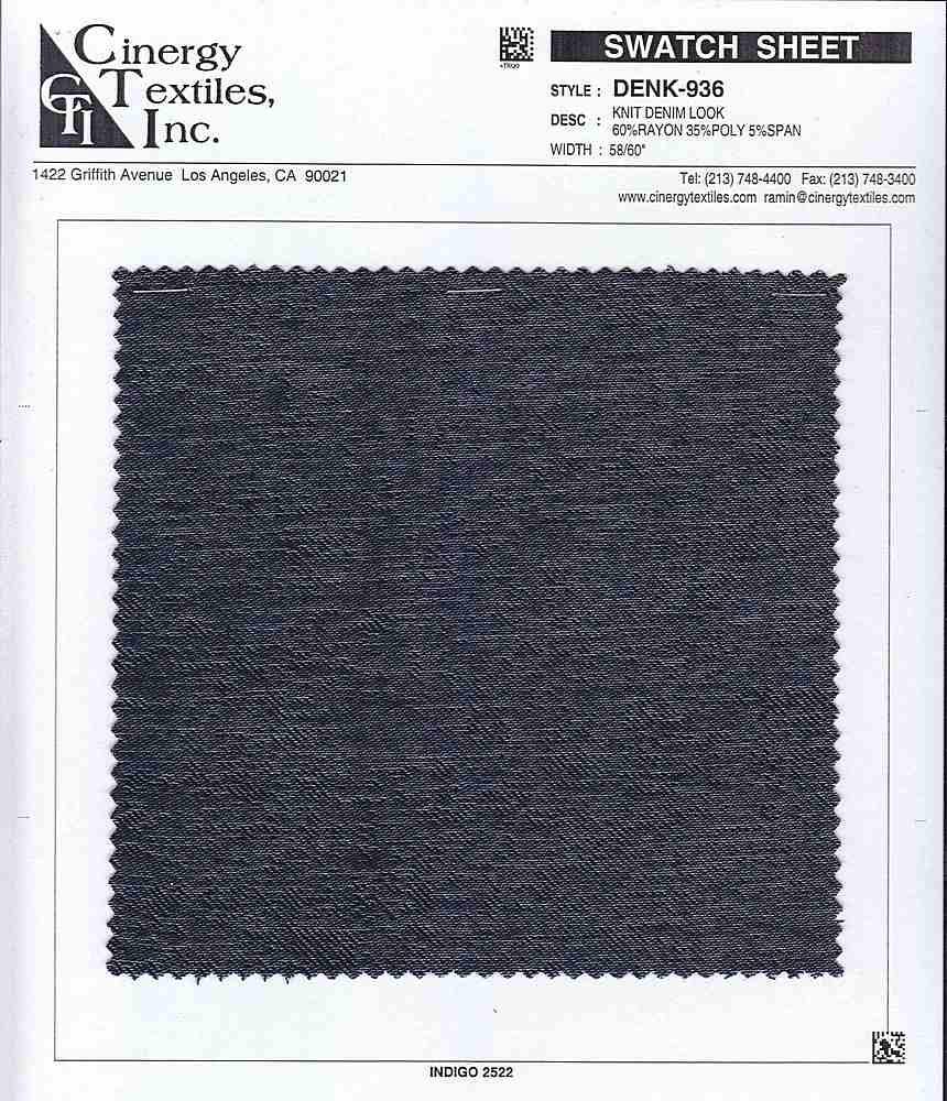 <h2>DENK-936</h2> / FAMILY          / Knit Denim Look 60%Rayon 35%Poly 5%Span