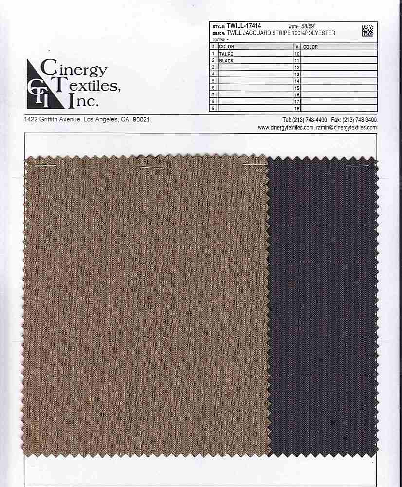 <h2>TWILL-17414</h2> / FAMILY          / TWILL JACQUARD STRIPE 100%POLYESTER