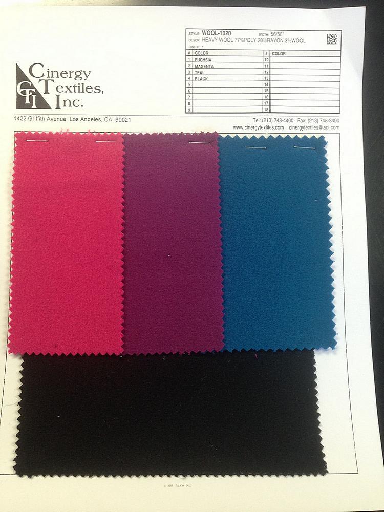 WOOL-1020 / Heavy Wool 77%Poly 20%Rayon 3%Wool
