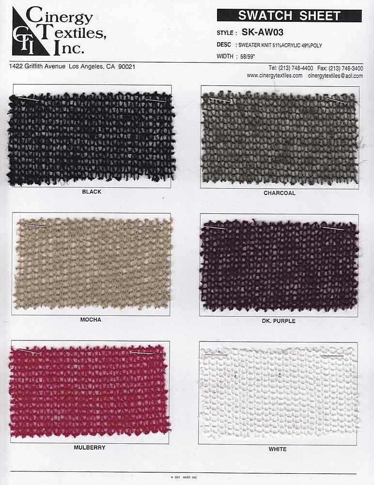 <h2>SK-AW03</h2> / FAMILY          / Sweater Knit 51%Acrylic 49%Poly