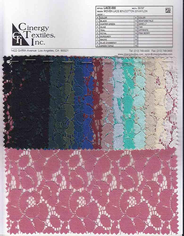 LACE-200 / Woven Lace 80%Cotton 20%Nylon