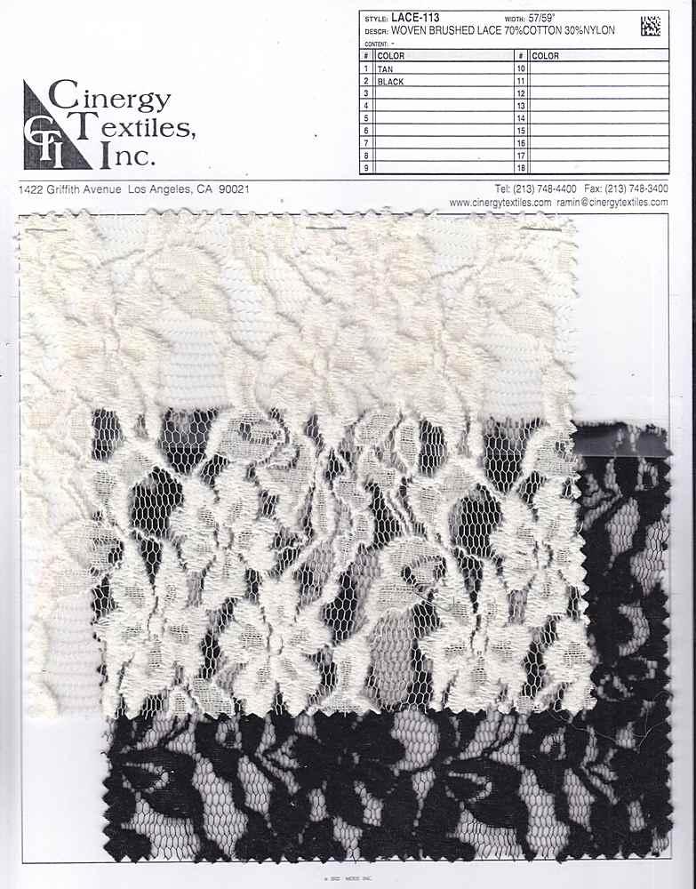 LACE-113 / Woven Brushed Lace 70%Cotton 30%Nylon