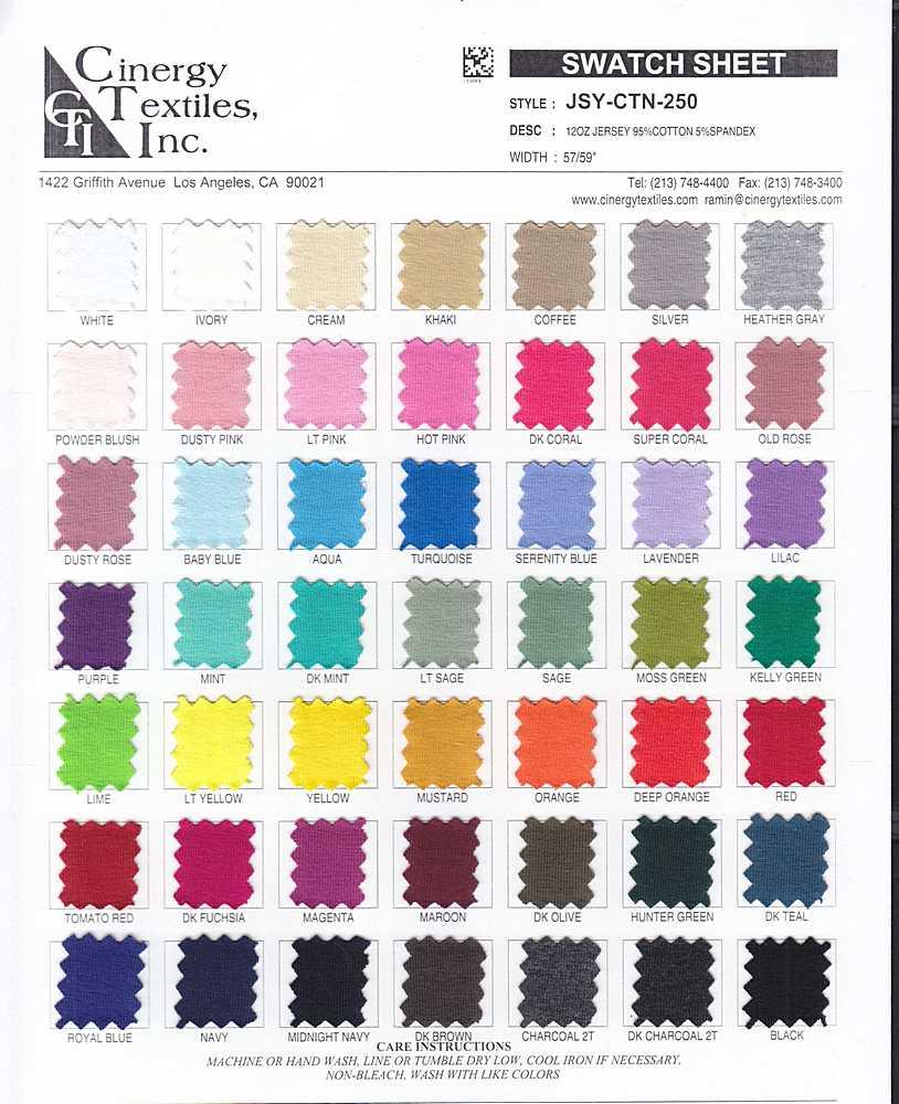 JSY-CTN-250GSM / 12oz Jersey 90%Cotton 10%Spandex