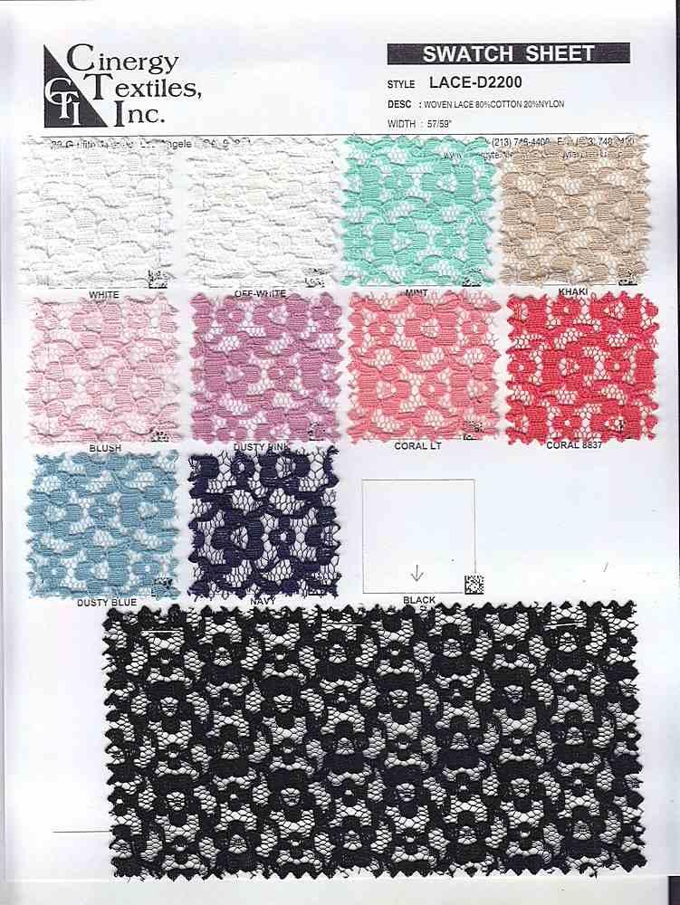 LACE-D2200 / Woven Lace 80%Cotton 20%Nylon