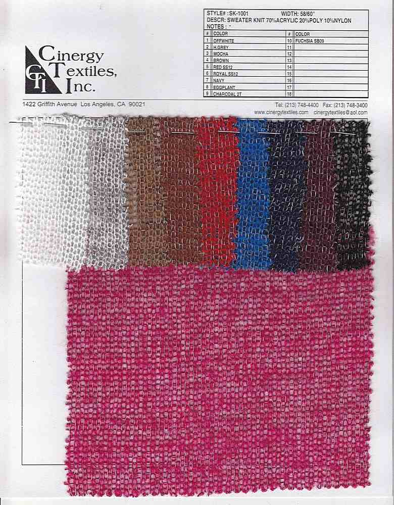 <h2>SK-1001</h2> / FAMILY          / Sweater Knit 70%Acrylic 20%Poly 10%Nylon