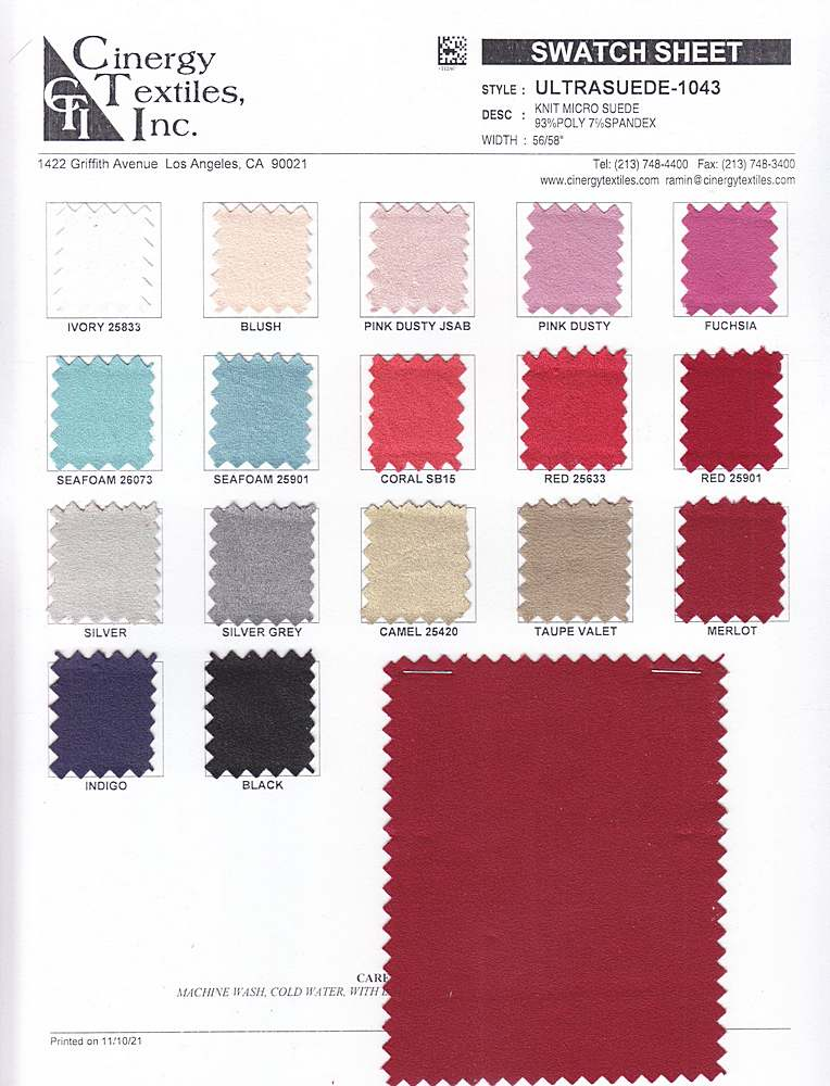 <h2>ULTRASUEDE-1043</h2> / FAMILY          / Knit Micro Suede 93%Poly 7%Spandex