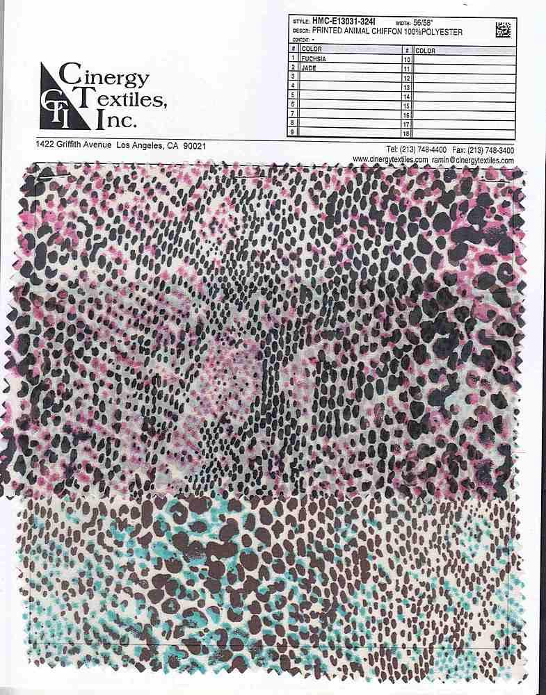 <h2>HMC-E13031-324I</h2> / FAMILY          / Printed Animal Chiffon 100%Polyester