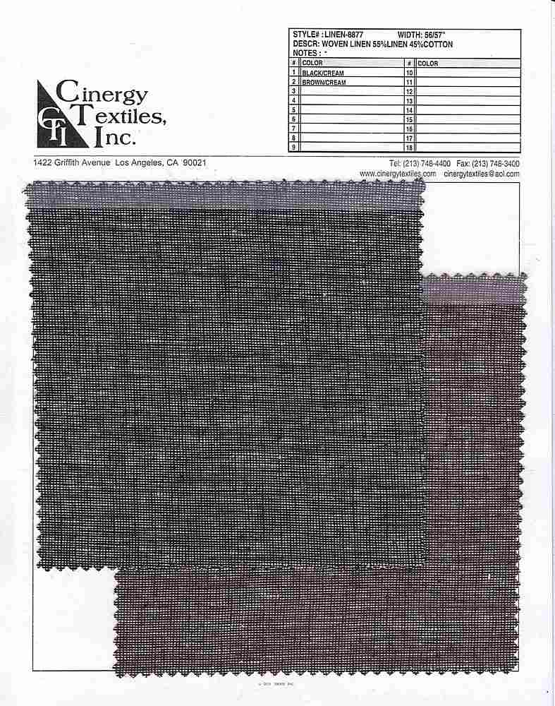 LINEN-8877 / Woven Linen 55%Linen 45%Cotton