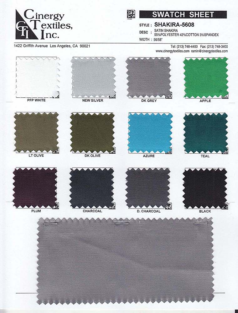 SHAKIRA-5608 / Woven Satin Shakira 55%Poly 42%Cotton 3%Spandex
