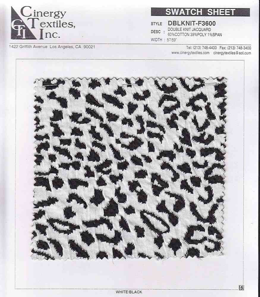 <h2>DBLKNIT-F3600</h2> / FAMILY          / Double Knit Jacquard 60%Cotton 39%Poly 1%Span