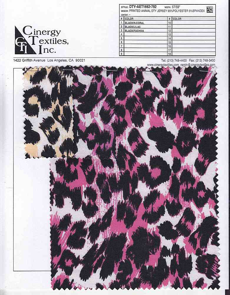 DTY-AET1662-792 / Printed Animal DTY Jersey 95%Polyester 5%Spandex