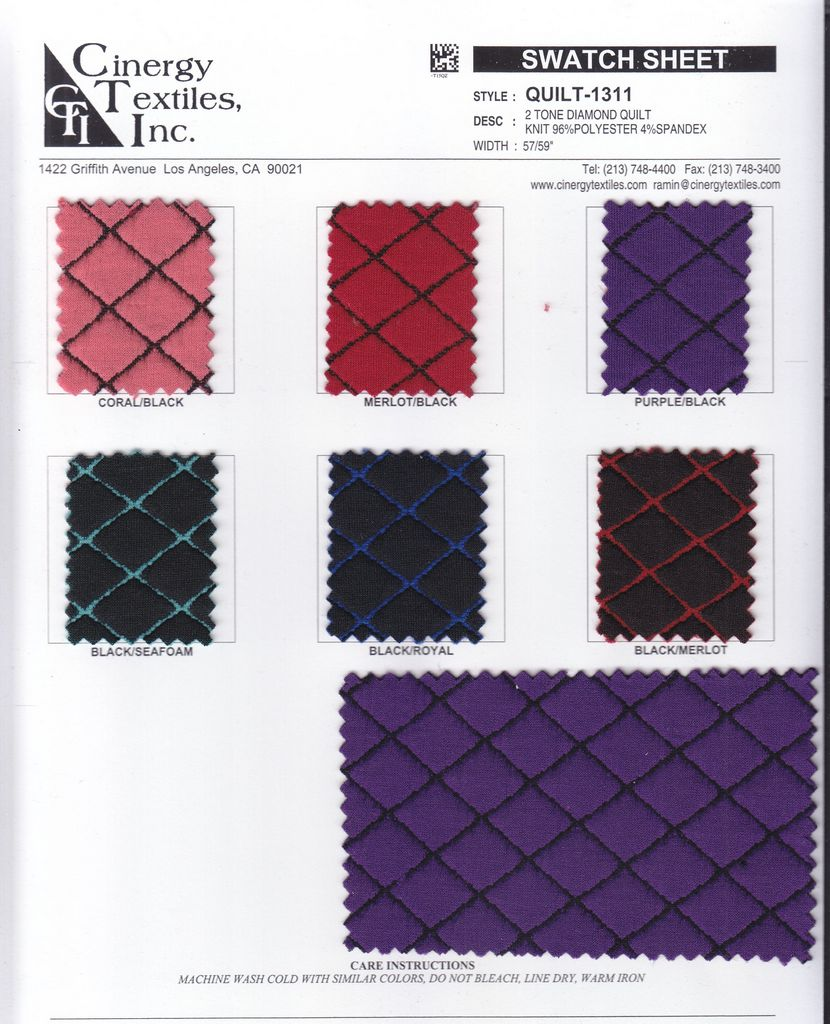 <h2>QUILT-1311</h2> / FAMILY          / 2 Tone Diamond Quilt Knit 96%Polyester 4%Spandex