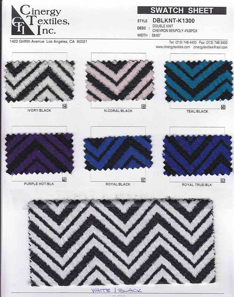 DBLKNT-K1300 / DOUBLE KNIT CHEVRON 96%POLY 4%SPDX
