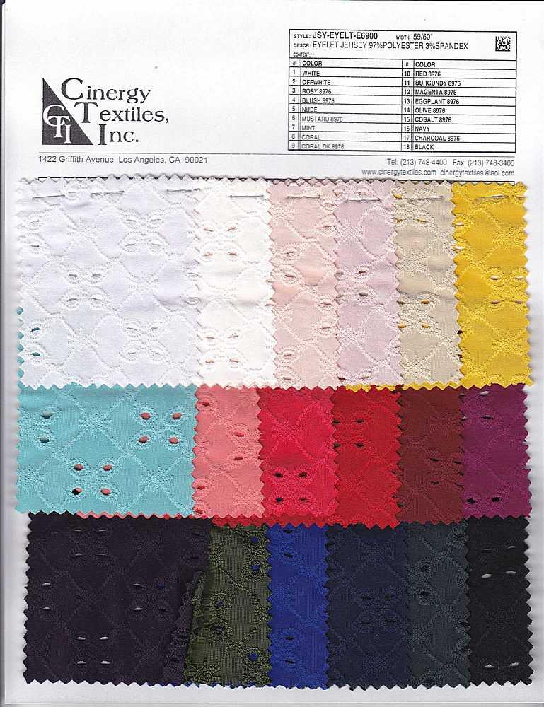 <h2>JSY-EYELT-E6900</h2> / FAMILY          / Eyelet Jersey 97%Polyester 3%Spandex