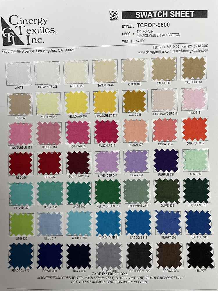 TCPOP-9600 / T/C Poplin 80%Polyester 20%Cotton