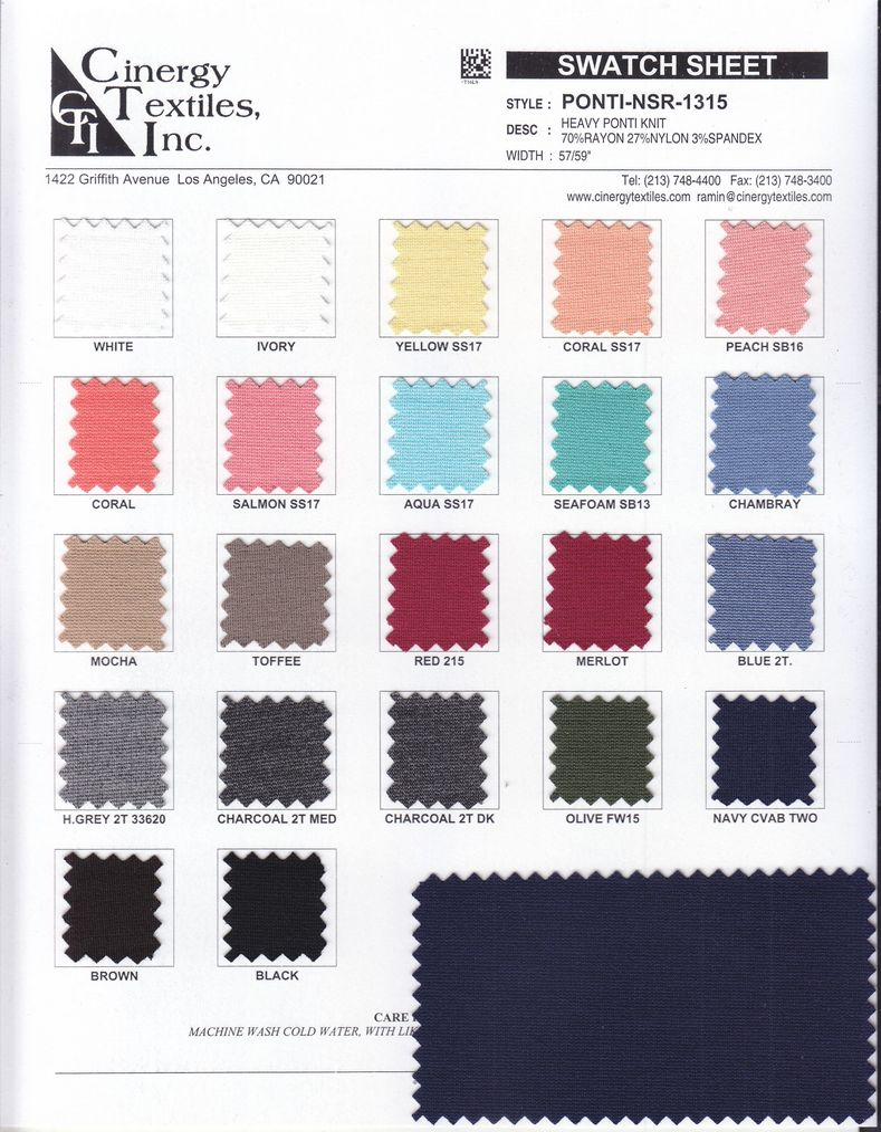 PONTI-NSR-1315 / Heavy Ponti Knit 70%Rayon 27%Nylon 3%Spandex