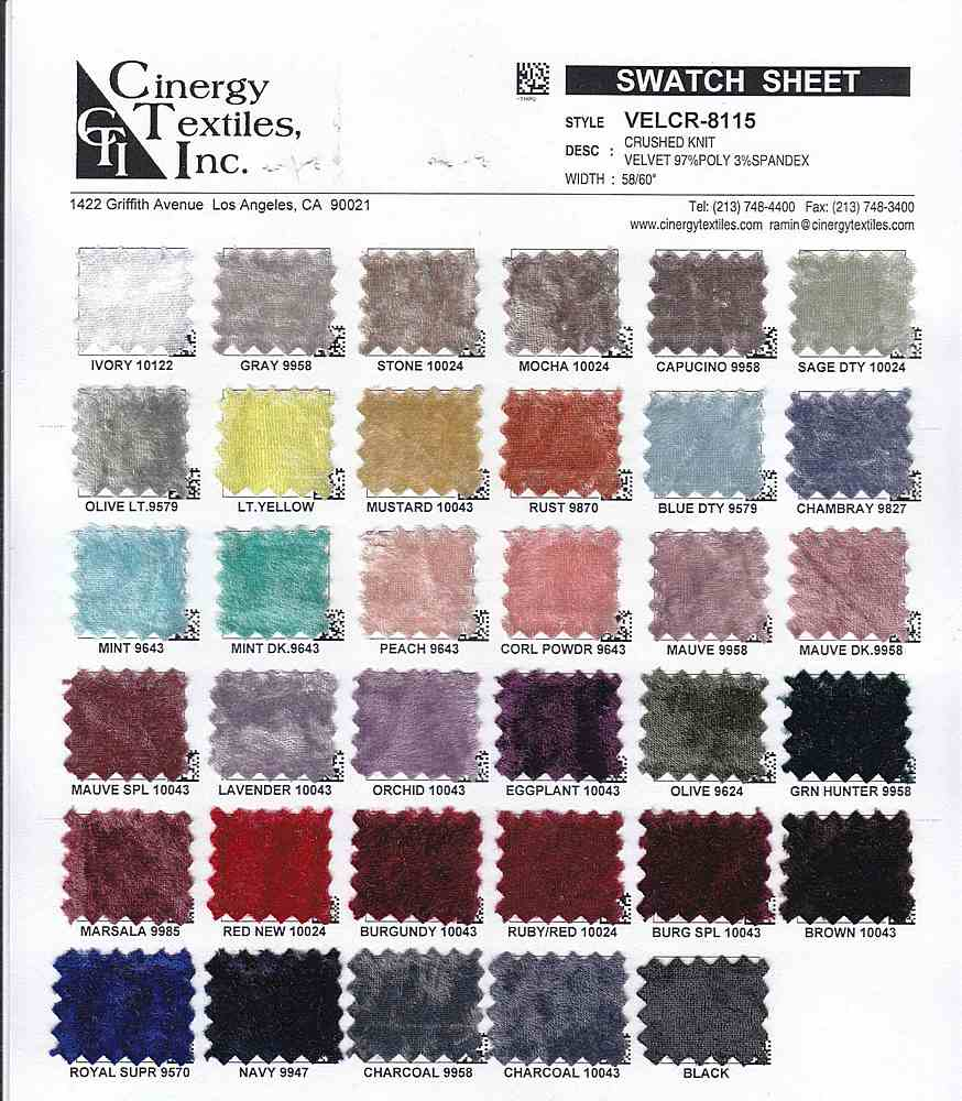 <h2>VELCR-8115</h2> / FAMILY          / Crushed Knit Velvet 97%Poly 3%Spandex