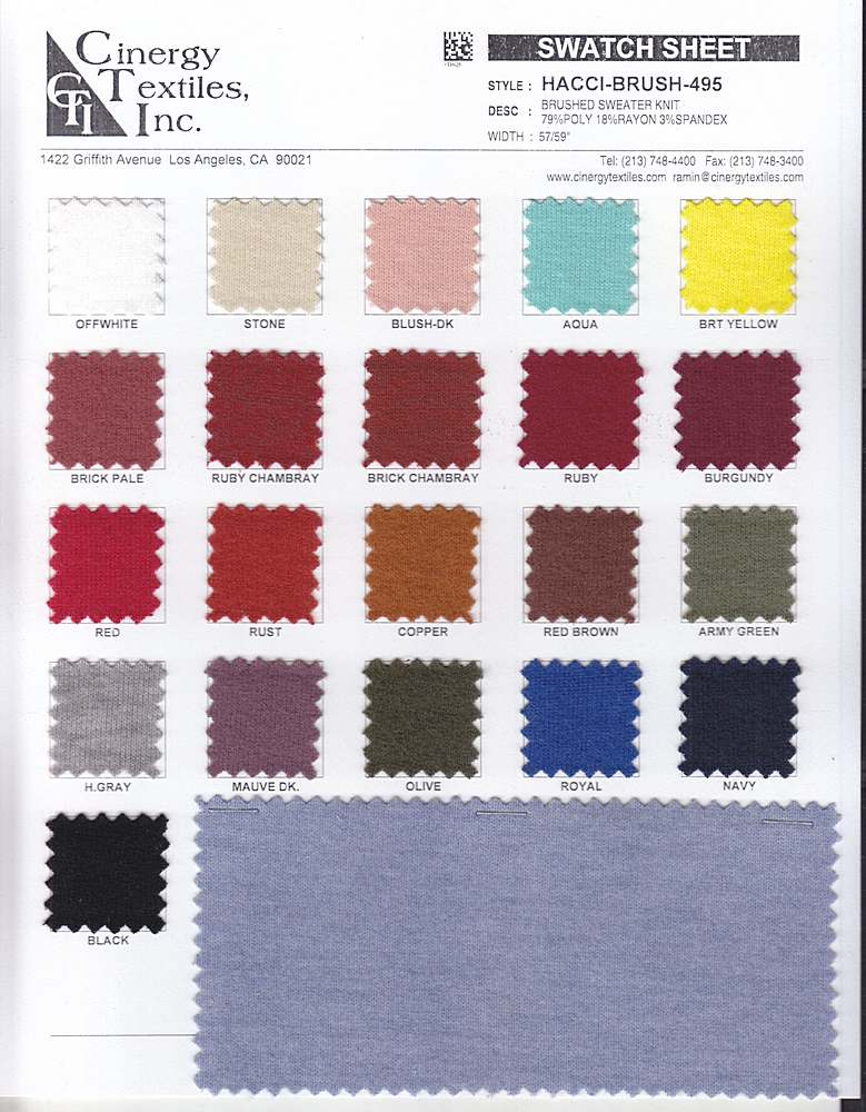 <h2>HACCI-BRUSH-495</h2> / FAMILY          / Brushed Sweater Knit 79%Poly 18%Rayon 3%Spandex